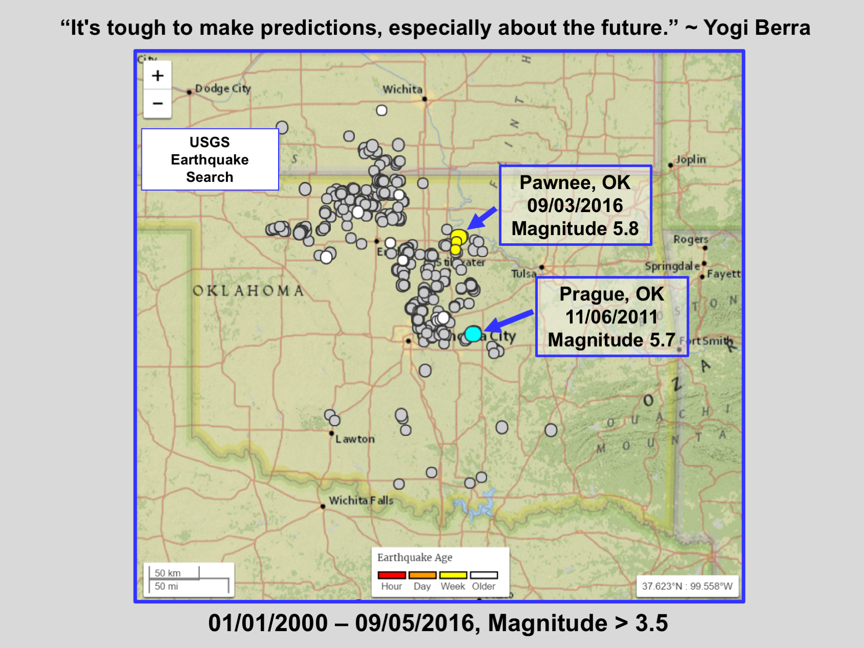 Seismicity surrounding two large quakes in OK.